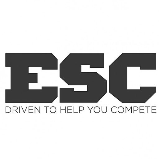 ESC logo in black bold lettering with the words driven to help you compete
