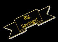 big savings ribbon