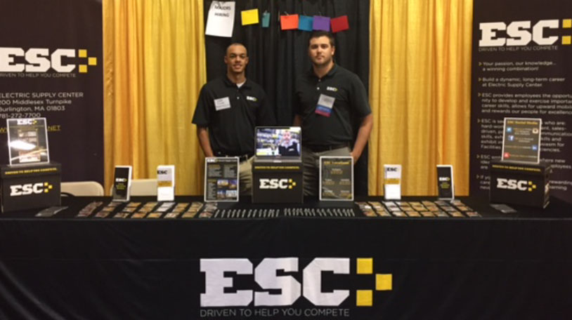 Our ESC team at a college fair. Work with us