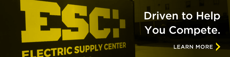 "ESC's logo with the wording ""driven to help you compete"""